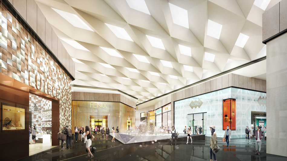 A rendering of the 'Grand Court' at The Shops at Riverside