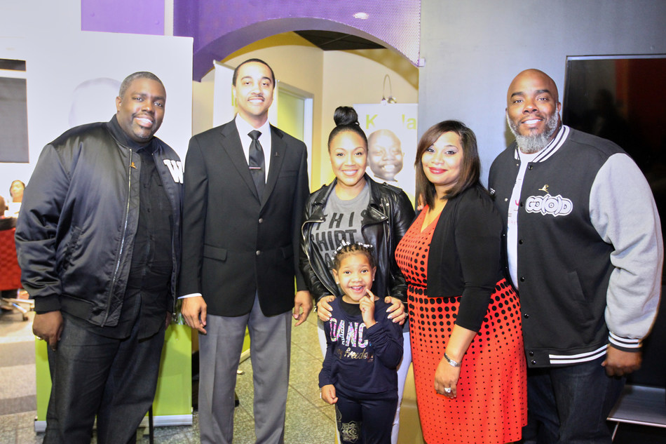 St. Jude patient Trinity and her parents, along with gospel music artists Erica Campbell and William McDowell celebrate the Radio Cares for St. Jude Kids radio seminar in Atlanta, GA.