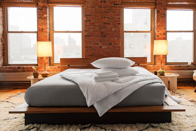 Brooklinen Hardcore Bundle in Solid Smoke and Solid White; All-Season Down Comforters and Pillows