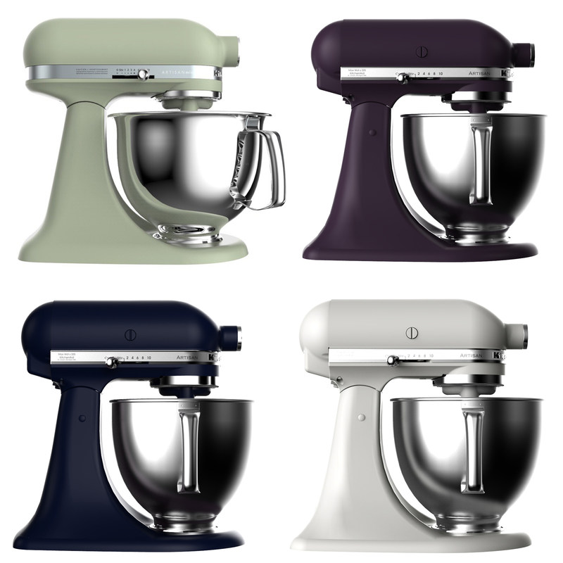 KitchenAid, the pioneer in bringing color to countertop appliances, is adding new stand mixer colors, small appliance collection hues, and finishes to its palette of over 86 color variations. New colors Avocado Cream, Black Violet, Ink Blue, and Milkshake, all featuring the brand's popular matte finish, will join the current matte finish stand mixer options.