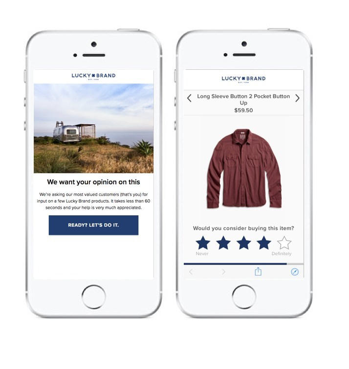 MakerSights mobile interface for Lucky Brand