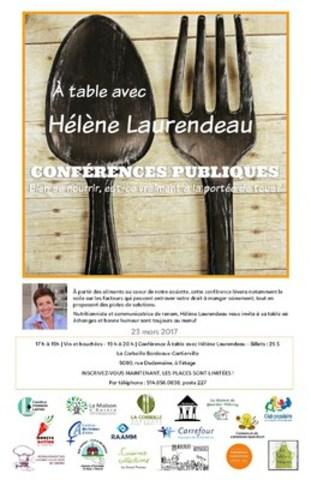 Point de presse et conférence publique : À table avec Hélène Laurendeau le 23 mars 2017 à 18 h 30. (Groupe CNW/Regroupement des cuisines collectives du Québec)