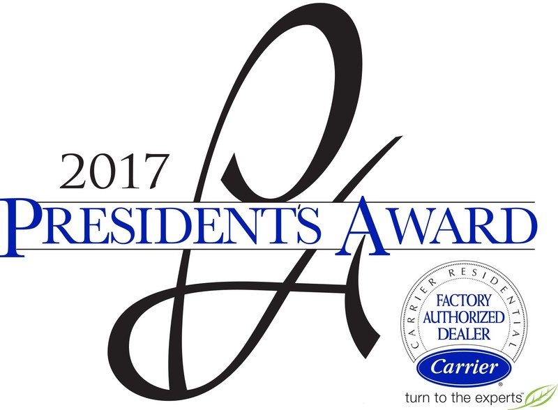 Nicholson Plumbing, Heating and Air Conditioning was awarded the President's Award for Excellence for the second year in a row by the Carrier(R) Corporation.