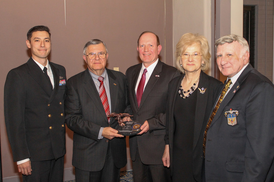 (From left to right) Hiroshi Asato, CPO (SW) U.S. Navy, Takeda Pharmaceuticals; Col (Ret) Renato Bacci, State Chair of Illinois Employer Support of the Guard and Reserve (ESGR) Committee; Scott Maxson, Takeda Pharmaceuticals employee; Dr. Ann Rondeau, Vice Admiral (Ret), U.S. Navy, President of College of DuPage; BG (Ret) John Fascia of Illinois ESGR Committee at the Illinois Committee of the Employer Support of the Guard and Reserve (ESGR) ceremony recognizing Takeda.