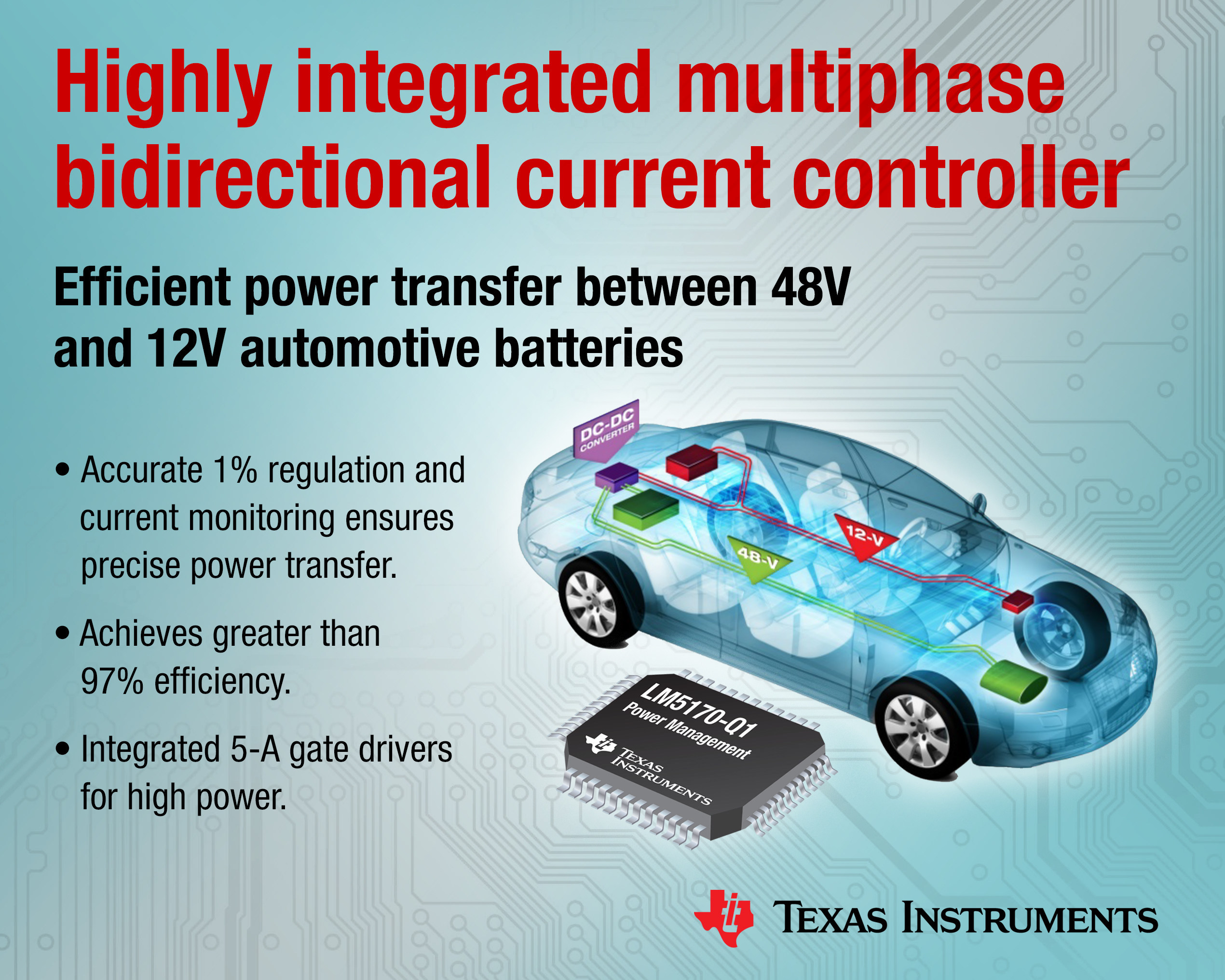 Industry's first multiphase bidirectional current controller from Texas Instruments efficiently transfers power between dual automotive battery systems.