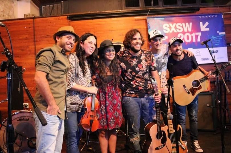 Folk rock band We The Lion after their performance at SXSW on Wednesday. (PRNewsFoto/PromPeru)