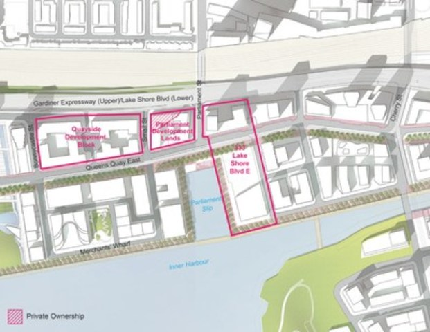 Quayside Project Location in downtown Toronto (CNW Group/Waterfront Toronto)