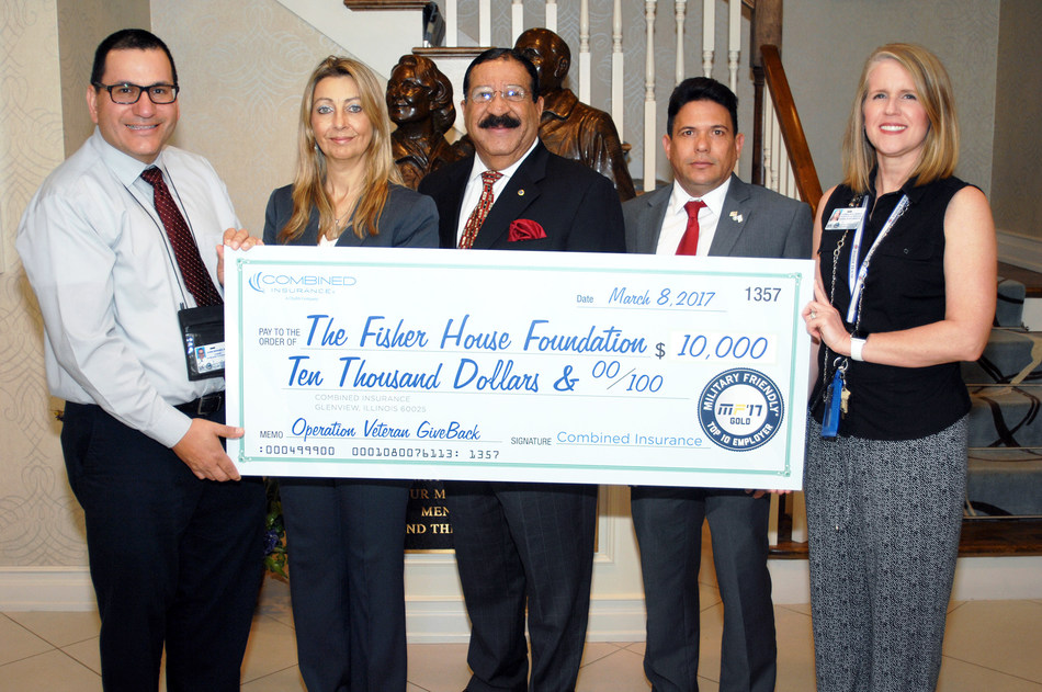 (L to R): John Mendez, Chief, Social Work and Chaplain Services at VA Miami Fisher House, Monica Vazquez, Market Director at Combined Insurance, Miguel Cruz, Regional Director at Combined Insurance, Reineldo Urgelles, Market Director at Combined Insurance, and Carolyn Soucy, Fisher House Manager, pictured with the $10,000 donation to the Miami Fisher House.
