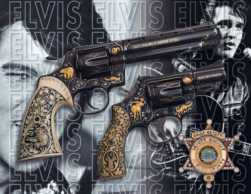 Elvis Presley's revolvers & gem-studded badge will be sold at Rock Island Auction Company's May firearms auction. Also being sold is the original sales contract for Graceland, as well as numerous, signed personal documents of the legendary performer.