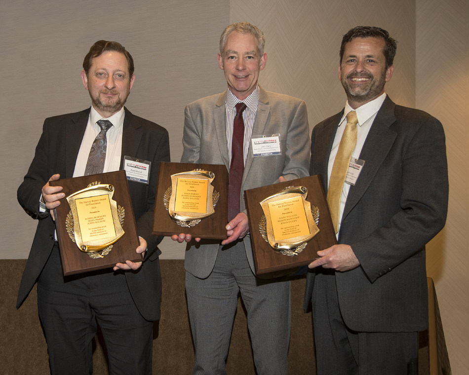 Mentor Graphics team received the 2017 Harvey Rosten Award for excellence in thermal modeling and analysis in electronics at the SEMI-THERM symposium in San Jose, CA. The recipients (from left to right) Robin Bornoff, John Parry and John Wilson were honored for their technical paper on a unique heatsink optimization methodology.