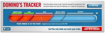 Domino's newest commercials highlight the fan-favorite Domino's Tracker, which lets customers track the progress of their order, from the time it is placed to when it comes out of the oven and goes out on delivery. Domino's Tracker has followed more than 100 million orders since it launched in 2008.