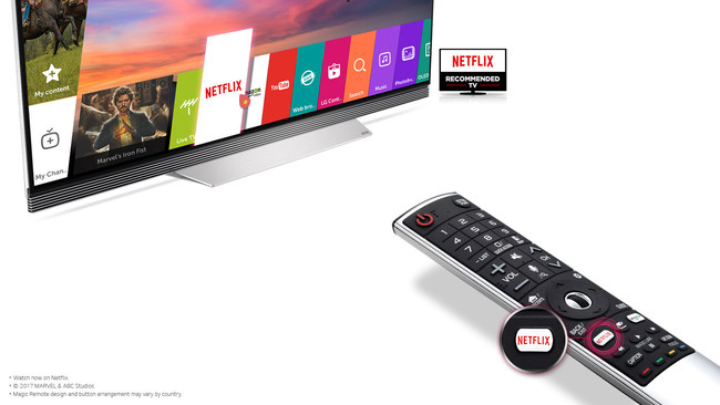 For the first time, LG's 2017 UHD models include a dedicated Netflix button on the remote control, enabling users to both turn on the TV and launch Netflix with the press of a single button.