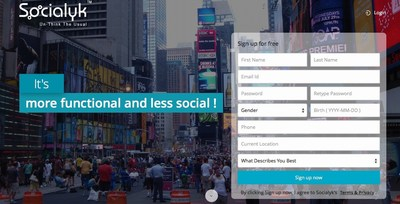 Landing Page of Socialyk (PRNewsFoto/Intelliber Technologies Inc.)