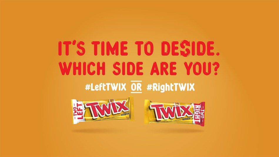 Left TWIX(R) and Right TWIX(R) each have their own unique package, meaning fans can finally have two of their favorite cookie caramel chocolate bars in every TWIX(R) pack. For those without a favorite, it's time to deSide. Which side are you? Left TWIX(R) or Right TWIX(R)?