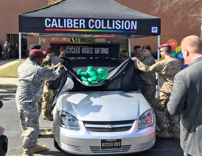 Ft. Bragg soldiers unveil the car they repaired and are donating to a veteran.