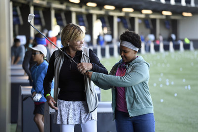 JACKSONVILLE, FL - MARCH 19: Juniors from The First Tee and LPGA Girls Golf enjoy free game play at Topgolf Jacksonville during Topgolf Junior PLAY on March 19. (Photo by Ryan Young/PGA TOUR)