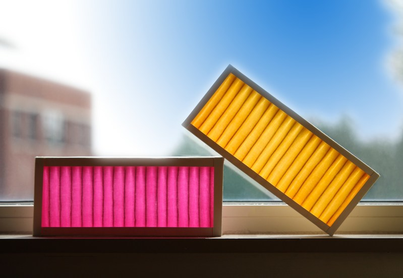 Colorfil smart filters let you know when they are working (pink) and when they're spent (yellow) with an intuitive, unambiguous color change.