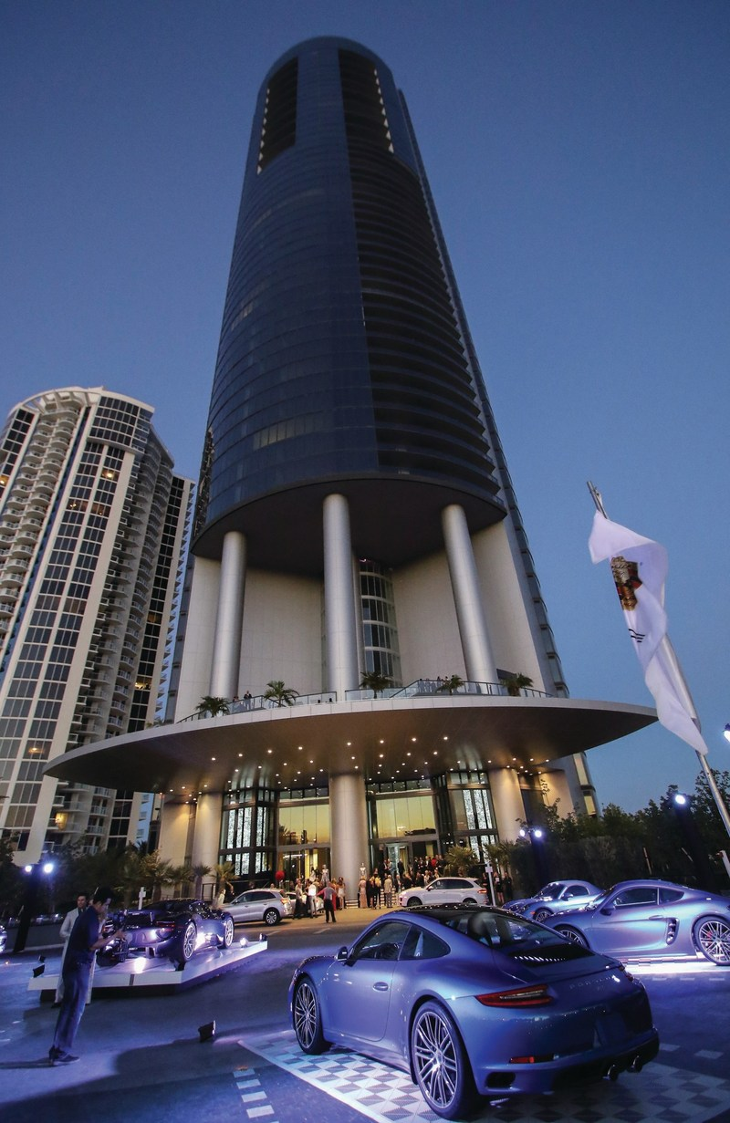 A view of the impressive Porsche Design Tower and its west-facing Sunset Terrace.