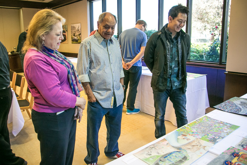 Cheech Marin with museum director Susan Sanborn and automotive designer Chung Lee were among the judges who chose the U.S. winners of this year's Toyota Dream Car Art Contest.