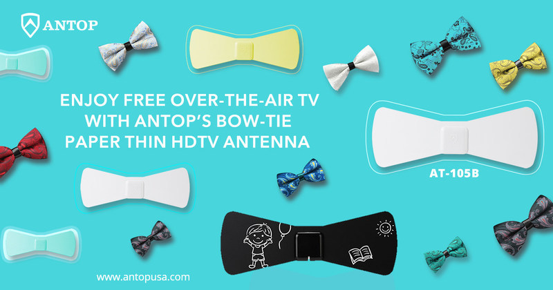 Stylish as a bow tie and lets you enjoy free over-the-air local broadcast TV, the ANTOP AT-105B paper thin indoor antenna combines design with digital technology to provide a visually appealing product that delivers crystal clear HDTV reception.