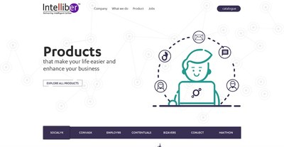 Landing page of Intelliber