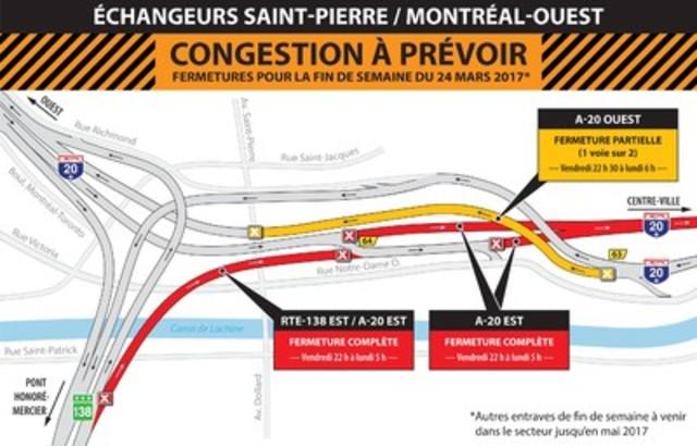 Fermeture Turcot - Montréal Ouest - FDS du 24 mars (Groupe CNW/Ministère des Transports, de la Mobilité durable et de l'Électrification des transports)
