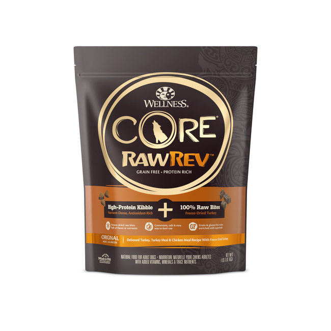 Wellness(R) CORE(R) RawRev(TM) recipes combine high protein grain-free kibble with 100 percent pure, raw freeze-dried bites, marking the brand's first foray into the quickly-growing category of raw nutrition for pets.