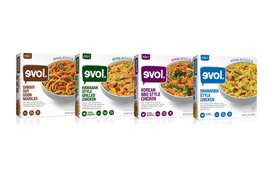New Shawarma Style Chicken, Ginger Soy Udon Noodles, Hawaiian Style Grilled Chicken and Korean BBQ Style Chicken single-serve meals from EVOL(R) Foods