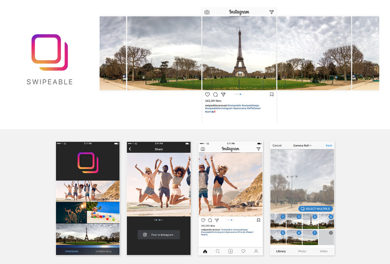Make your panorama swipeable on Instagram