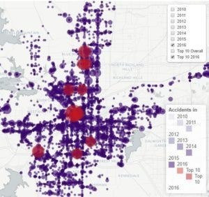 Interactive Fort Worth Accident Map - over 40000 accidents going back 5 years are plotted here