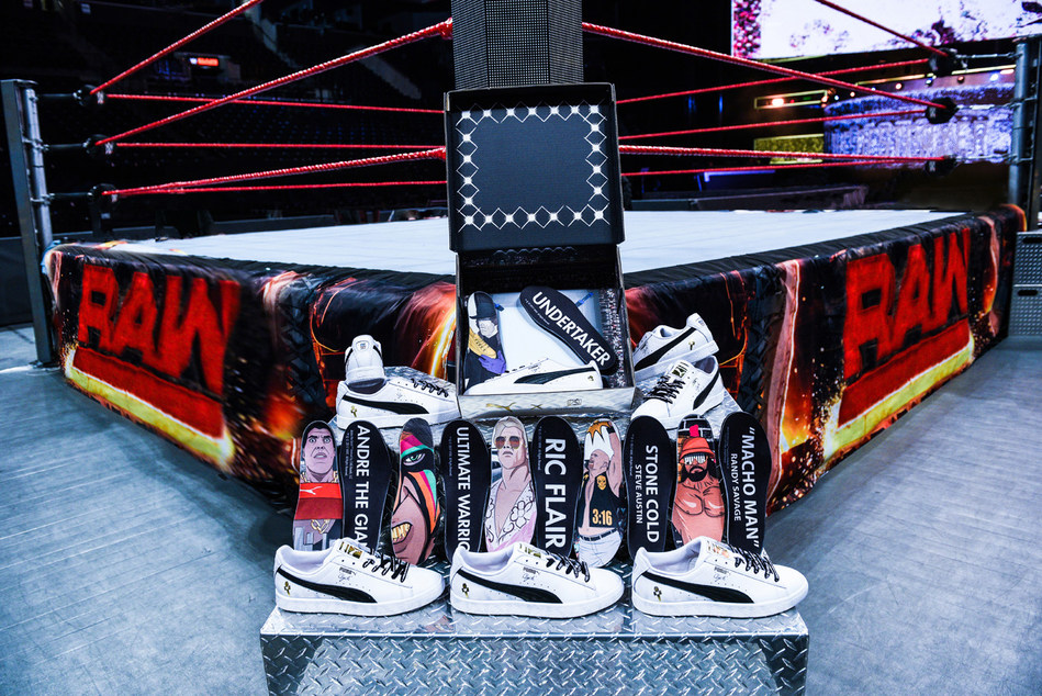 """Foot Locker will release a collection of Puma product, featuring exclusive art of six WWE Legends: """"Stone Cold"""" Steve Austin, The Ultimate Warrior, """"Macho Man"""" Randy Savage, Ric Flair, Andre the Giant and Undertaker."""