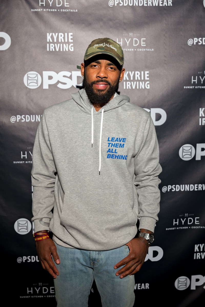 Kyrie Irving on red carpet at his PSD Underwear event celebrating sale of 100,000th pair of signature briefs.