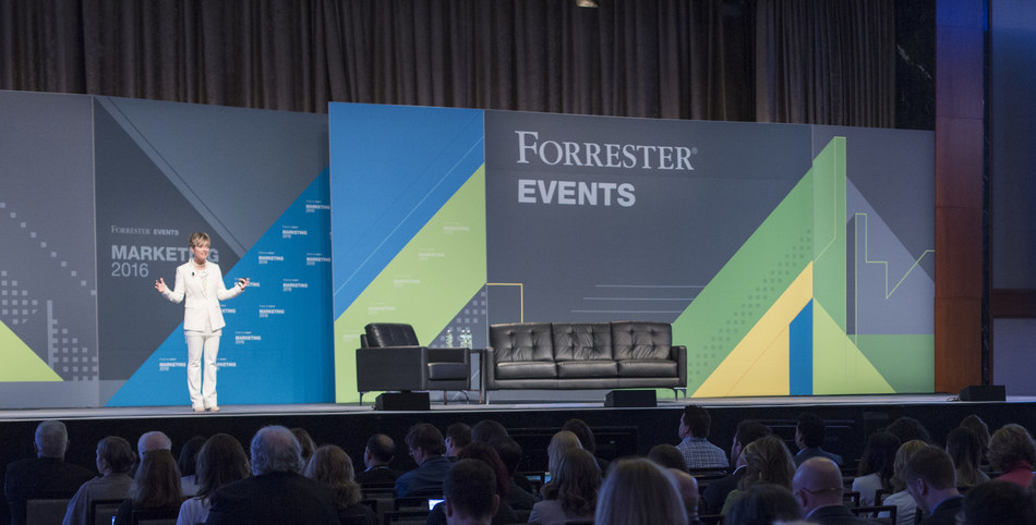 Forrester Vice President and Principal Analyst Shar VanBoskirk speaks to a room full of marketers at last year's Marketing Forum in New York City.