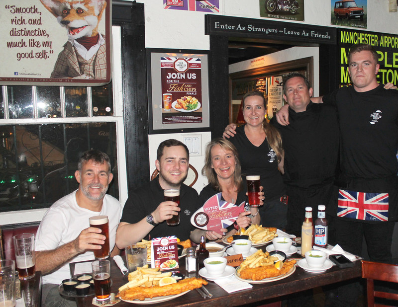 Export Director, Dave Patmore Hill & Brewer, Ross O'Hara with their hosts, Shakespeare Pub & Grille