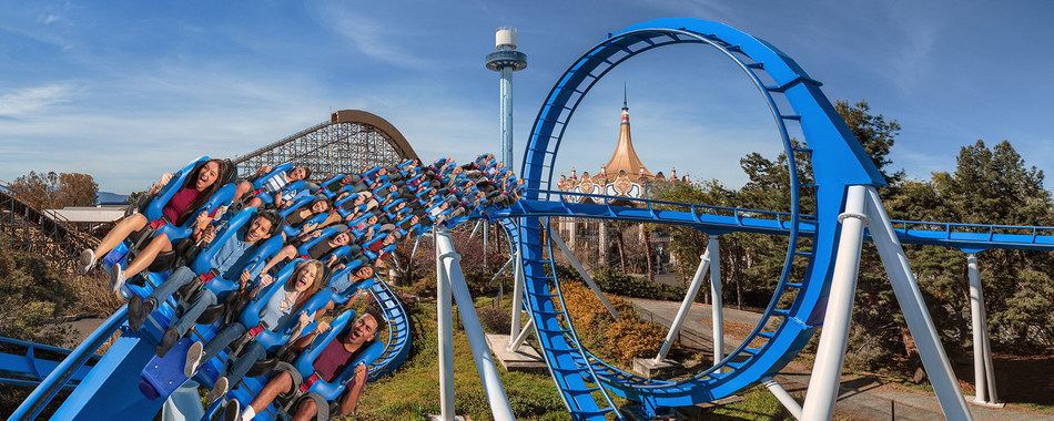 Patriot, the first floorless coaster at California's Great America, is set to debut on Saturday, April 1. Patriot will take riders to a nine-story height before plummeting them into a 360-degree loop and a series of hairpin turns. The floorless ride will include state-of-the-art blue and white floorless trains positioning guests with their feet dangling inches above the track.