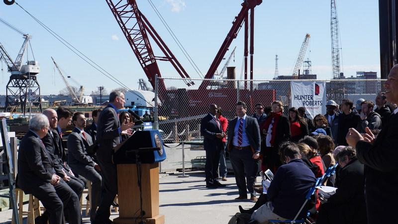 Mayor Bill de Blasio visits construction site of Citywide Ferry at Brooklyn Navy Yard