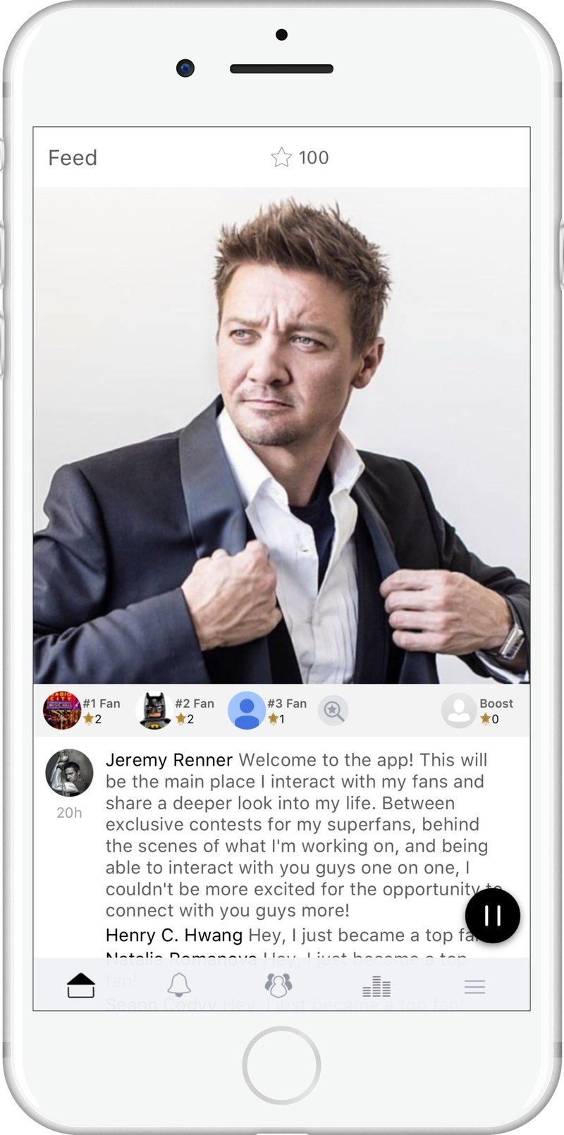 Actor and singer Jeremy Renner today launched a groundbreaking free mobile app powered by escapex that gives him the ability to interact directly with his fans all over the world.
