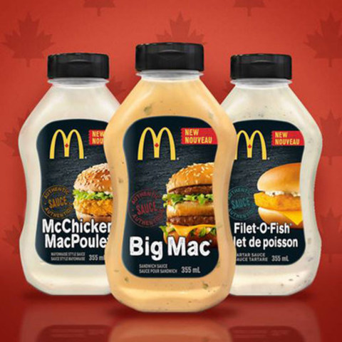 It's no secret that Canadians love our Big Mac® Sauce. Get ready Canada! We're taking it one step further. This spring our Big Mac, Filet-O-Fish® and McChicken® sauces will be landing on grocery shelves from coast-to-coast. With this launch, Canadians will now be able to experience the world famous sauces they love at home. This is part of our continued commitment to giving Canadians more ways to enjoy McDonald's. We look forward to sharing more details soon. (CNW Group/McDonald's Canada)