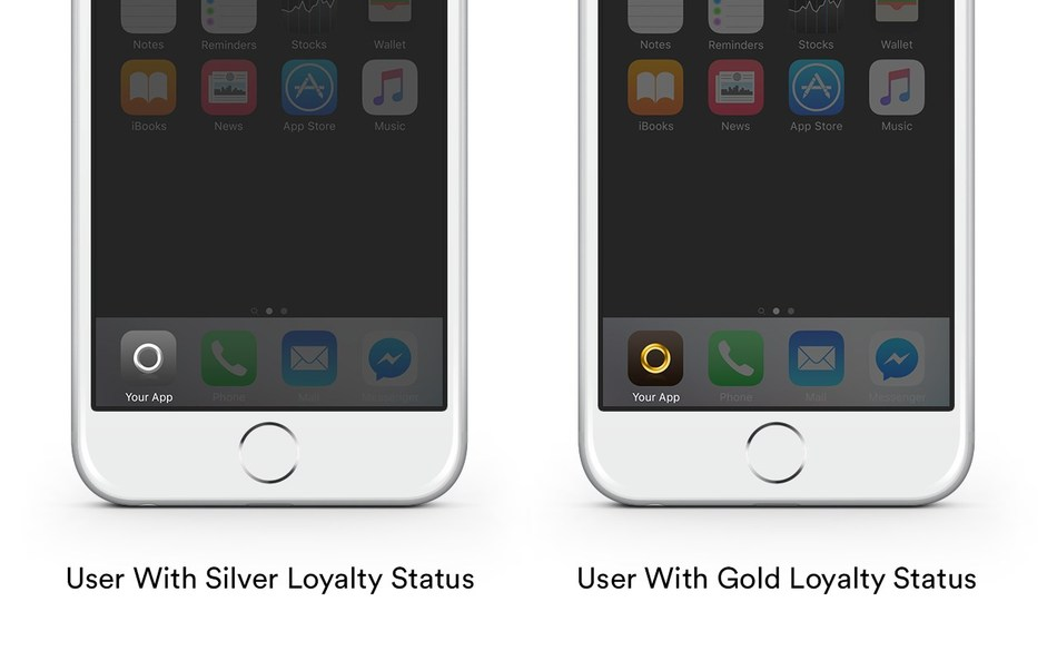 Personalize app icons to individual user behaviors or preferences, such as loyalty status