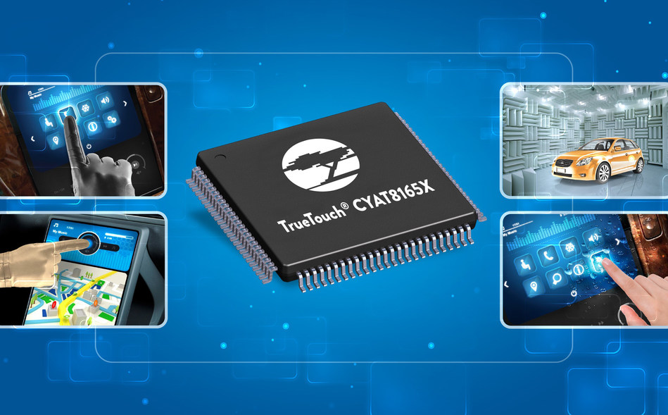 Pictured is Cypress' new Automotive TrueTouch CYAT8165X controller, which targets screens up to 8.5 inches.