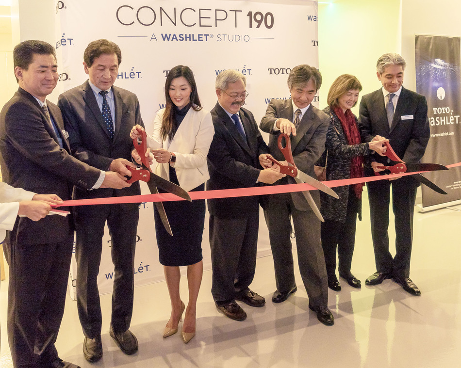 San Francisco Mayor Ed Lee, Consul General of Japan, Jun Yamada and TOTO President of the Western US and Latin America Katsuhito Nojima cut the ribbon to open Concept 190, a new experiential space from TOTO USA