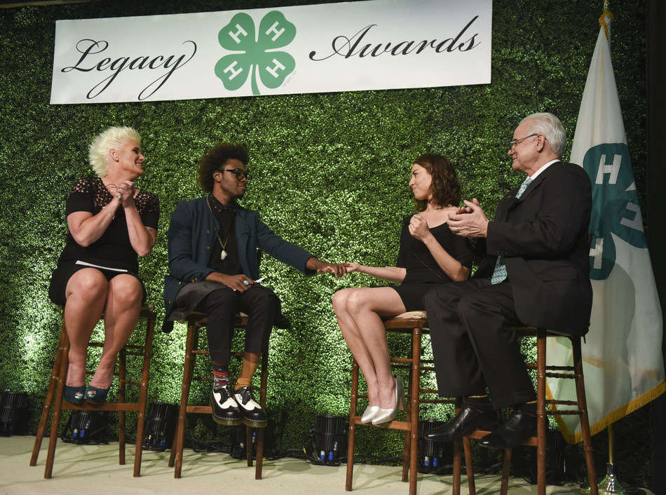 From left, chef, author and TV personality Anne Burrell; chef and multimedia host Lazarus Lynch; actress and producer Aubrey Plaza, and Dr. Faustino Bernadett, president of IPA Healthcare, discuss the life-changing impact of 4-H during the 8th annual National 4-H Council Legacy Awards on Tuesday, March 21, 2017, in Washington. (Kevin Wolf/AP Images for National 4-H Council)