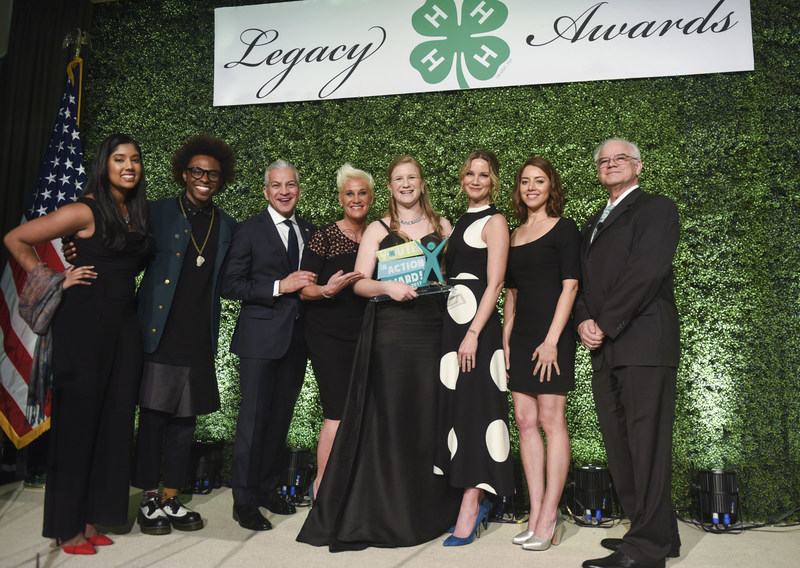 Amelia Day is named 2017 National 4-H Youth in Action Award winner, during the 8th annual National 4-H Council Legacy Awards and joined on stage with, from left, 2016 National 4-H Youth in Action Award winner Ru Ekanayake; chef and multimedia host Lazarus Lynch; Javier Palomarez, President & CEO of the U.S. Hispanic Chamber of Commerce; chef, author and TV personality Anne Burrell; Day; Grammy Award winning singer and songwriter and National 4-H Spokesperson Jennifer Nettles; actress and producer Aubrey Plaza; and Dr. Faustino Bernadett, president of IPA Healthcare.