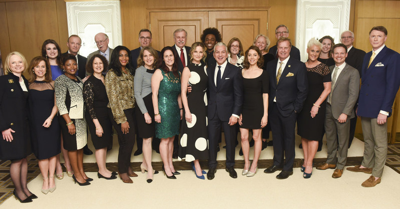 Front row center, Grammy Award winning singer and songwriter and National 4-H Spokesperson Jennifer Nettles; Javier Palomarez, President & CEO of the United States Hispanic Chamber of Commerce; and actress and producer Aubrey Plaza join with fellow 4-H alumni at the 8th annual National 4-H Council Legacy Awards on Tuesday, March 21, 2017, in Washington. (Kevin Wolf/AP Images for National 4-H Council)