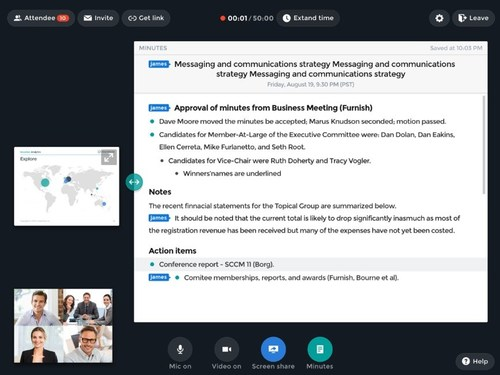 Meeting minutes can be edited while simultaneously video conferencing.