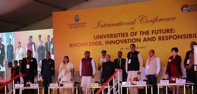 """President of India, Shri Pranab Mukherjee accompanied by other dignitaries at the launch of the international conference on '""""Universities of the Future: Knowledge Innovation and Responsibility"""" at O.P. Jindal Global University, Sonipat, Haryana (PRNewsFoto/O.P. Jindal Global University)"""