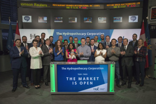 Sebastien St-Louis, CEO, The Hydropothecary Corporation (THCX), joined Eric Loree, Team Manager, Listed Issuer Services, TSX Venture Exchange to open the market. The Hydropothecary Corporation is an authorized licensed producer and distributor of medical marijuana licensed by Health Canada under the Access to Cannabis for Medical Purposes Regulations (ACMPR). Hydropothecary is located in Gatineau, Quebec on a 65-acre farm along the Rivière des Outaouais. The Hydropothecary Corporation commenced trading on TSX Venture Exchange on March 21, 2017. (CNW Group/TMX Group Limited)