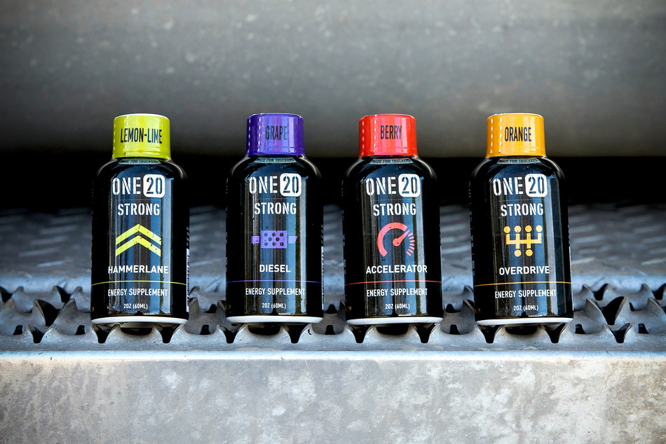 The ONE20 Strong energy shots are 100-percent designed with the professional truck driver in mind. With hand selected flavors, the 2-ounce. (60ml) energy shots contain caffeine comparable to a cup of leading premium coffee. With trucking themed names; Overdrive (Orange), Accelerator (Berry), Diesel (Grape) and Hammerlane (Lemon-lime), the energy shots will be available on Amazon starting in April 2017 for significantly less than other leading brands.