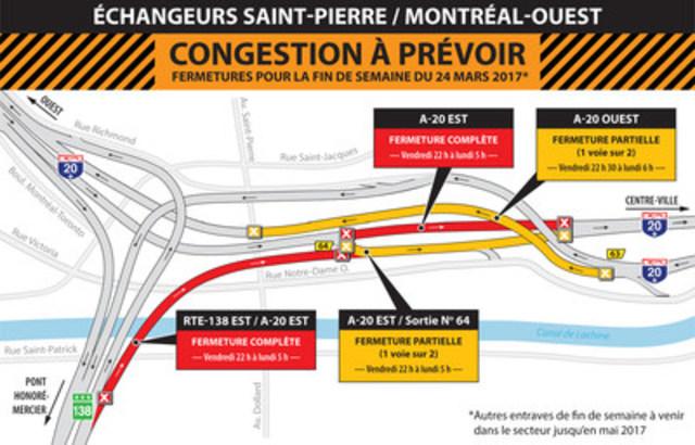 Fermeture Turcot-Mtl-Ouest, fin de semaine du 24 mars (Groupe CNW/Ministère des Transports, de la Mobilité durable et de l'Électrification des transports)