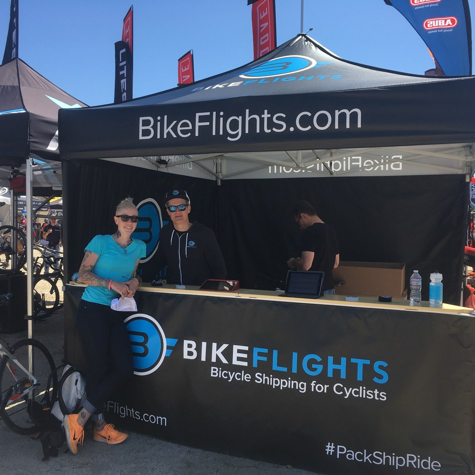 BikeFlights.com announced its roster of individual and team Brand Ambassadors for the 2017 season. The popular program is in its third year. Shown here, returning BikeFlights.com Brand Ambassador Kelli Samuelson, Team Manager of and Rider on the LA Sweat Elite Women's Road Team, visits the BikeFlights.com Booth at the Sea Otter Classic.